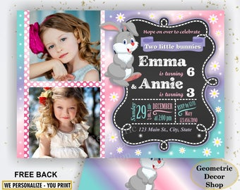Twins Bunny Birthday Invitation, Bunny Birthday Party Invitation, Boy Girl Twins Bunny Spring Easter dual double combined joint photo BDE12