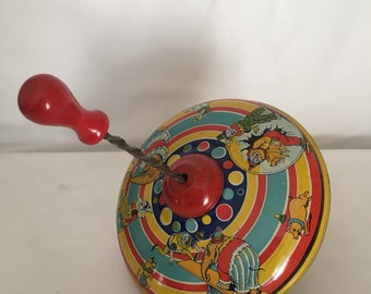 Vintage Tin Spinning Top Toy, Vintage Pretend Play, Toddler Toy