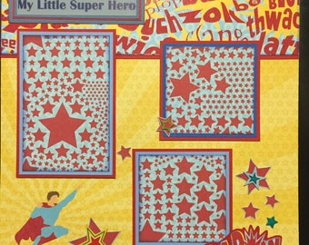 LITTLE SUPER HERO Premade 12x12 scrapbook page