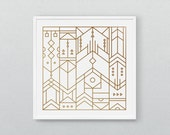 "Modern Geometric Screen Print 12"" x 12"" 