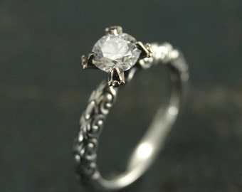 Enchantress--Sculptural Engagement Ring--Dragon Lady Ring--Fantasy Engagement Ring--Charles and Colvard Forever Brilliant Moissanite Ring