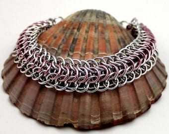 Silver and Pink Chainmaille Bracelet, Silver Bracelet, Pink Bracelet, Aluminium Bracelet, Chain Mail Bracelet, Chainmail Bracelet