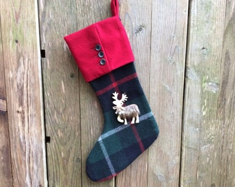 Tweed Christmas stocking, wool, Christmas decoration,