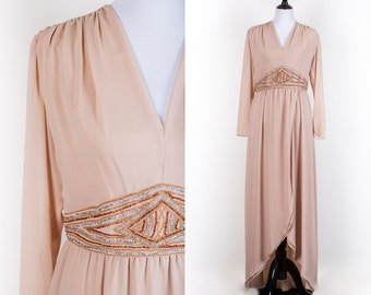 70s Dark Oatmeal V-Neck Long Sleeve Evening Dress w/Embellishment