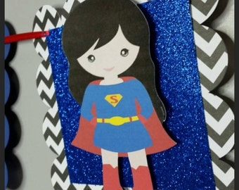 Glitter Super Girl Happy Birthday Banner, Super Girl Name Banner