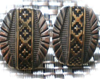 SOLD Vintage Native American Navajo S Silver 14 kt 14 Karat Gold Earrings Secatero MINT