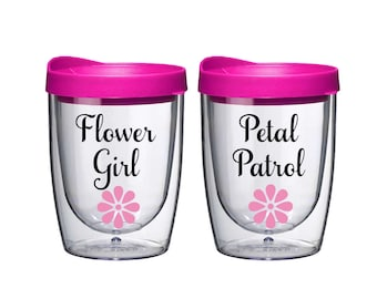Flower Girl Gift - Petal Patrol - Flower Girl Cup - Flower Girl Proposal Gift - Personalized Sippy Cup -  Custom Sippy Cup - PINK