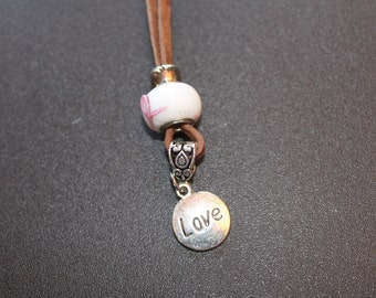 Leather Charm Necklace-Love