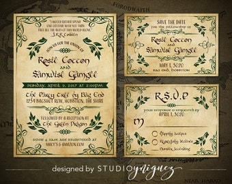 Fantasy Wedding Printable Invitation Suite, Woodland Printable Invitation, Storybook Printable Save the Date, Printable Response Card