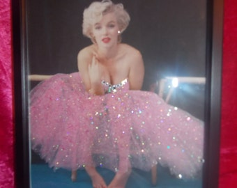 Marilyn Monroe Pink Ballerina Framed Glitter Canvas with Crystals in Black or White frame