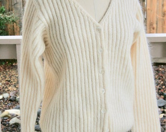 Vintage L.L. Bean mohair small white v-neck buttoned sweater