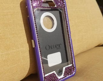 iPhone 6, 7 and 7 plus custom Otterbox Defender blinged with purple Swarvoski crystals sparkly cell phone case