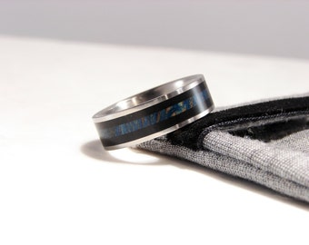 Ebony and Dyed Blue Sycamore inlay Titanium Ring, Dyed and Stabilized Wood, Double wood inlay ring, police, law enforcement, black and blue