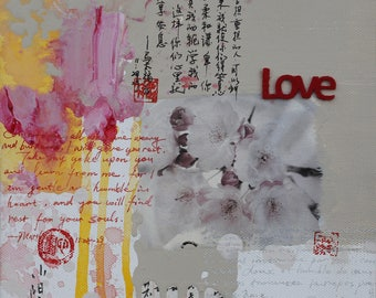 Love,art print, Limited edition Giclee print,collage,bible,personally signed by the artist Xiaoyang Galas