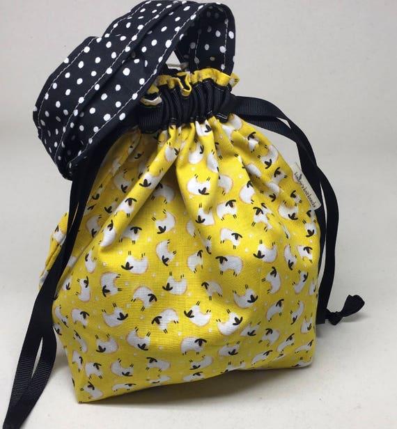 Small Lizzie Drawstring Bag _ Yellow Sheep