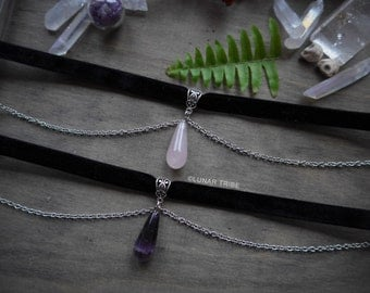 Choker necklace black velvet with silver chains, amethyst pendant or rose quartz drop, crystal, 90s grunge, birthstone january february