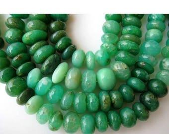 ON SALE 50% Chrysoprase Rondelles, Chrysoprase Beads, Shaded Chrysoprase, Rondelle Beads, 12mm Beads, Half Strand 9 Inches, 32
