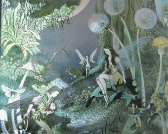 Vintage Fairy Picture. Foil Art Fairy Picture. 1970s Metallic Art Picture. Vintage Framed Foil Art Picture. Magical Woodland Picture.