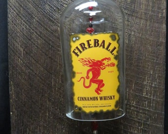 Recycled Fireball Cinnamon Whiskey Bottle Wind Chime, Outdoor Chime, Unique for him, Whiskey Bottle, Fire Ball, Gift for Him, Gift for Her
