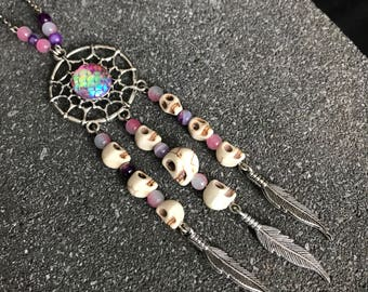 Dreamcatcher pendant necklace with skulls and beads pastel - pastel goth