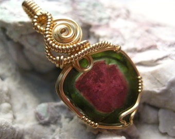 AA Quality Watermelon Tourmaline Pendant in 14k Gold Filled Wire