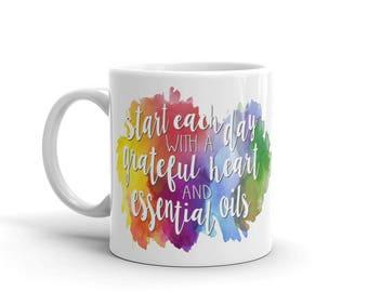 Grateful Heart and Essential Oils Watercolor Mug