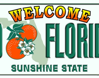 Florida License Plate Beach Towel