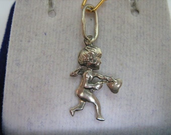 Solid 925 Sterling Silver ANGEL Cupid with HEART and ARROW Wings Chubby Lad Tot Toddler Little Fellow Amulet Pendant Charm Made In Ukraine