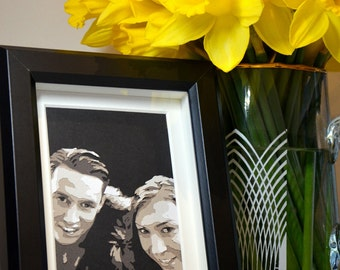 "Layered Papercut Portraits, Couple Portraits, Baby Portraits, Children Portraits, Pet Portraits, 4x6"" Portrait,Papercut Portrait,Greyscale"