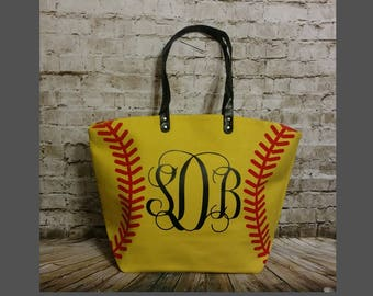 Softball Tote, Softball Tote bag, Personalized Softball Tote, Monogrammed bag, Monogrammed, Softball Bag, Softball Bag, Softball mom