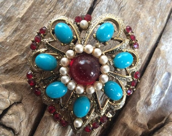 Vintage Heart Shaped Brooch with Turquois, Faux Pearls, and Red Rhinestones