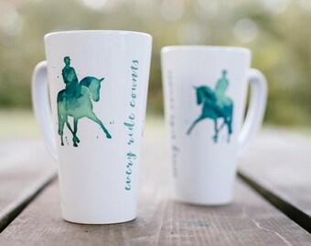 Horse Mug, Dressage Horse Mug, Coffee Mug, Horse Lovers Mug, Latte Mug, Watercolor, Horse Art, Gift for Equestrian, Half Pass, Green