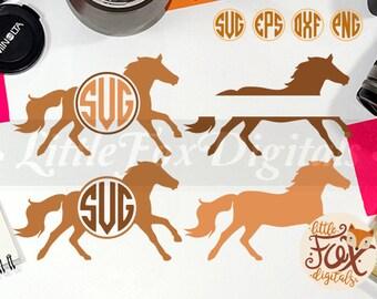 Horse Monogram Split Forest Mountain Animal Silhouette Clipart Vector Digital Illustration Scrapbook svg eps png dxf