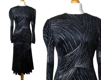 90s Does 30s Velvet Evening Dress Black and Silver with Fishtail Hem 1990s UK Made Reflections Size 10