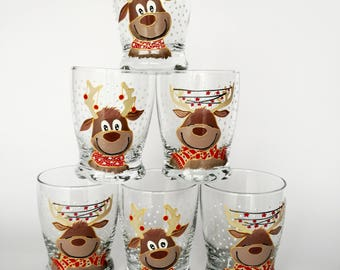 Winter Holiday Drinking Glasses Set of 6 Hand Painted Beverage Glasses Christmas Decor Kitchen Table Holiday Decorations Water Juice Glasses