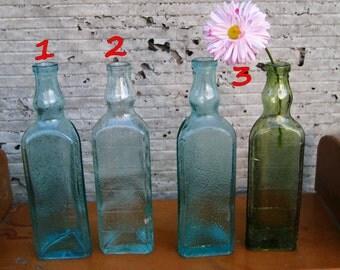 vintage bottle/set of 2/transparent bottle/ vintage Bank/triangular bottle