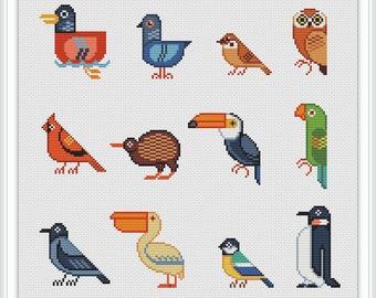 Cross stitch pattern geometric, cross stitch pattern bird, cross stitch pattern owl, modern cross stitch pattern, cross stitch pattern, PDF