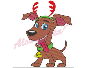 Machine Embroidery Design christmas dog - Instant Digital Download