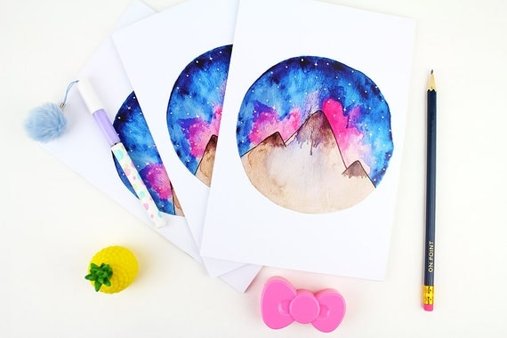 A5 Notebook Watercolour Mountain Top | Stationery