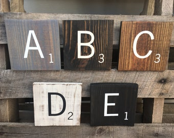 Large Oversized 5.5 Inch Square Wood Scrabble Tiles with Stain Color Options/Hand Painted Wooden Scrabble Tiles/Wall Hanging/Wall Decor