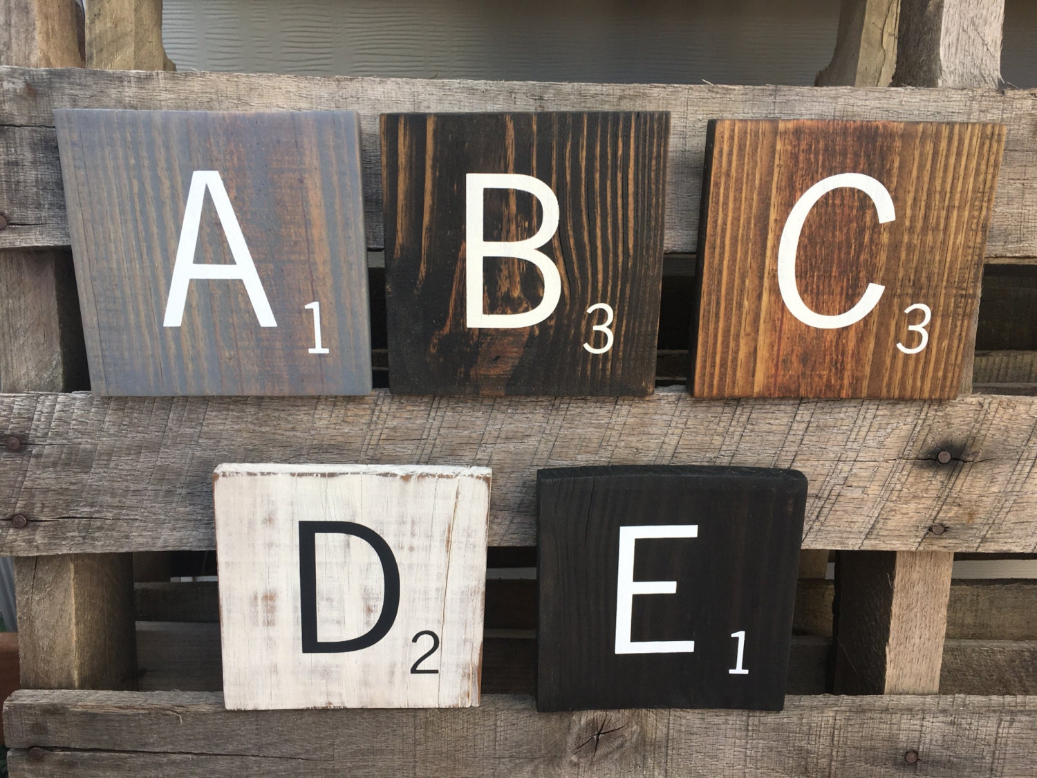 Large oversized 55 inch square wood scrabble tiles with stain zoom dailygadgetfo Gallery