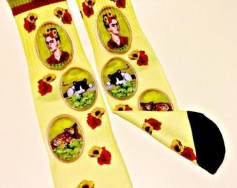 Frida Kahlo Artist Parody Art Sock -  Designer Socks - Cameo- Feralartist Exclusive - Artsy - Artists -Frida Kahlo clothing