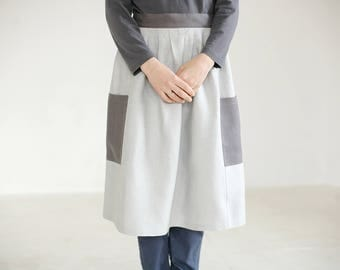 gray apron half apron waist apron with pockets small apron linen short apron half linen apron womens aprons natural linen apron