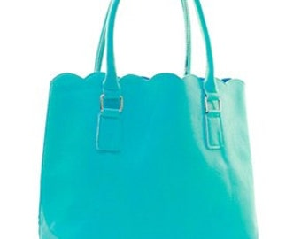 Fashion Faux Leather Scallop Top Tote bag NEW