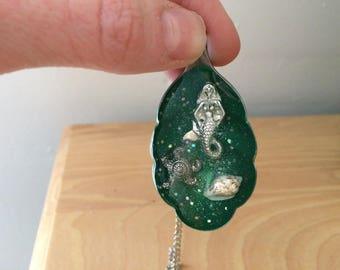 Mermaid resin spoon pendant