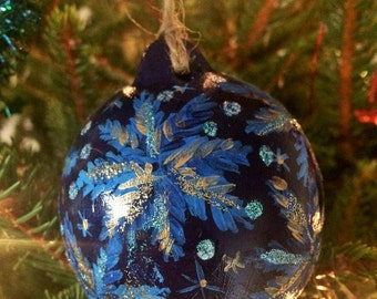 purple baubles, green, blue christmas decorations, glitter detail, snowflakes, hand painted