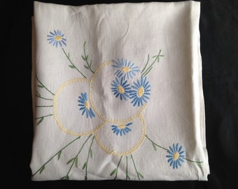 Embroidered Daisies Large Tablecloth.  Square Linen Table Covering with Yellow, Lavender, Pink and Blue Flowers