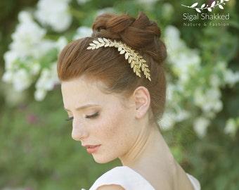 Gold leaf Hair Comb, Grecian Headpiece, Laurel Hairpiece, Wedding Hairpiece, Bridesmaid Hairpiece, Goddess Headpiece, Woodland Wedding,