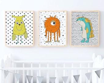 Set of Boys Monster Prints | Nursery Print | Kids Print | Kids Room | Nursery Wall Art | Boys Monster Nursery | Monsters Kids Room