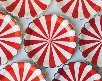 circus party theme, Stripe plates by Meri Meri, red and white, Meri Meri, children's party, baby shower, paper party plates, Circus